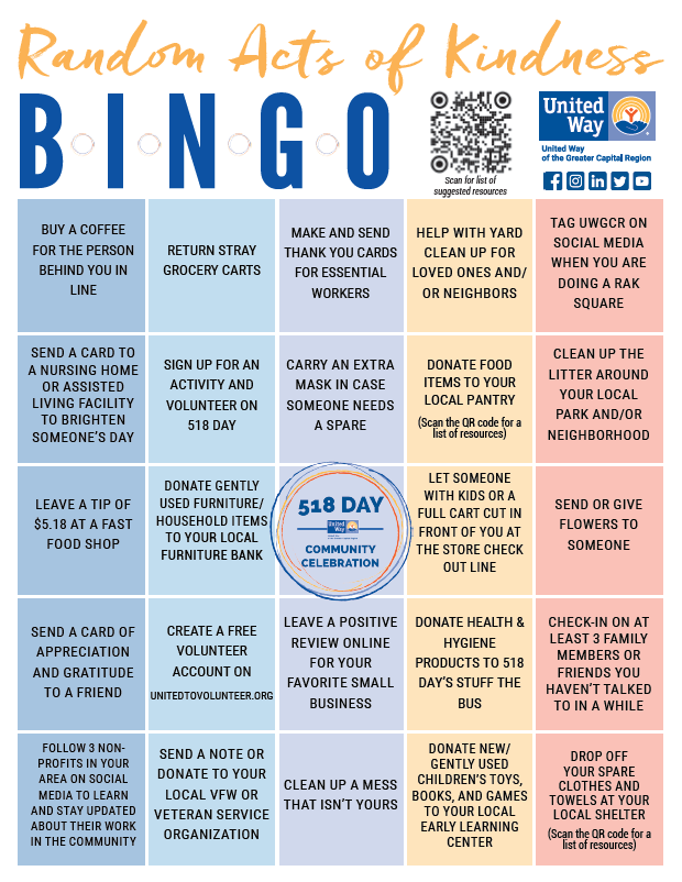 Random Acts of Kindness BINGO card
